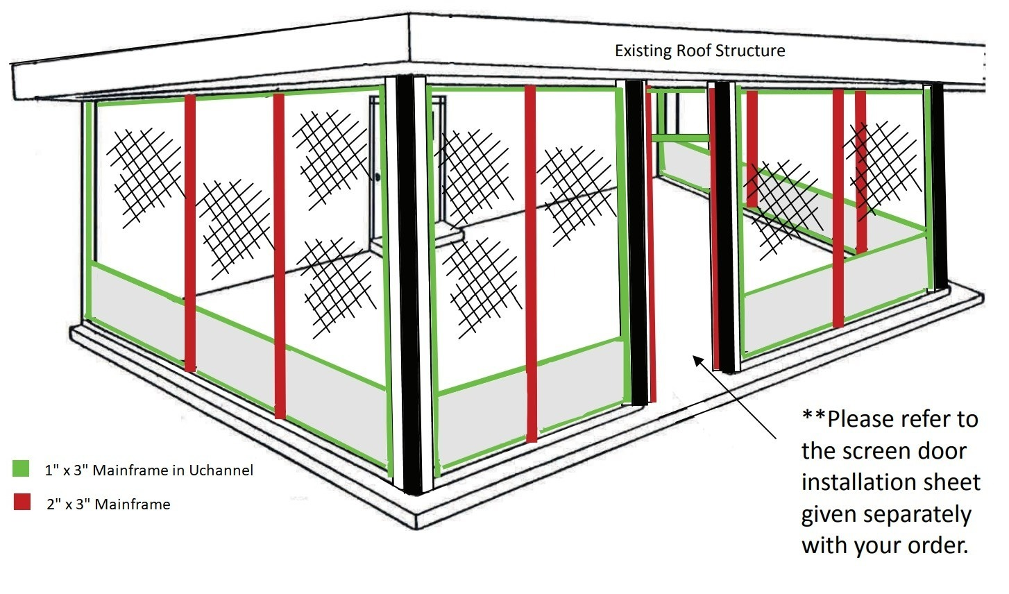 Wireframe of completed screenroom